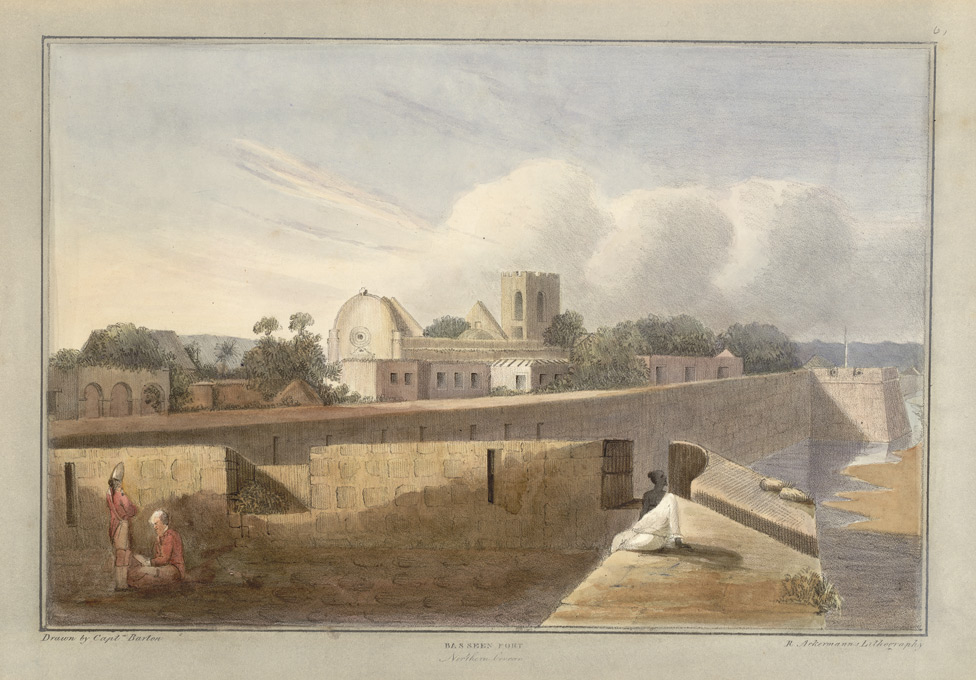 'Basseen Fort'.  Captain James Barton's 12 Views of Hill Forts in the Western Ghats near Bombay, London, c.1820.  Pl. 6.